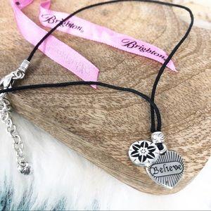 "Brighton Small Charm Black Cord Necklace ""Believe"""